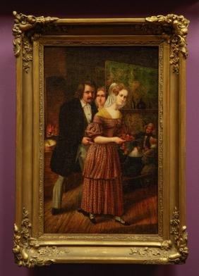 Oil on Canvas,Bar Scene, w/ Gilt Wood Frame