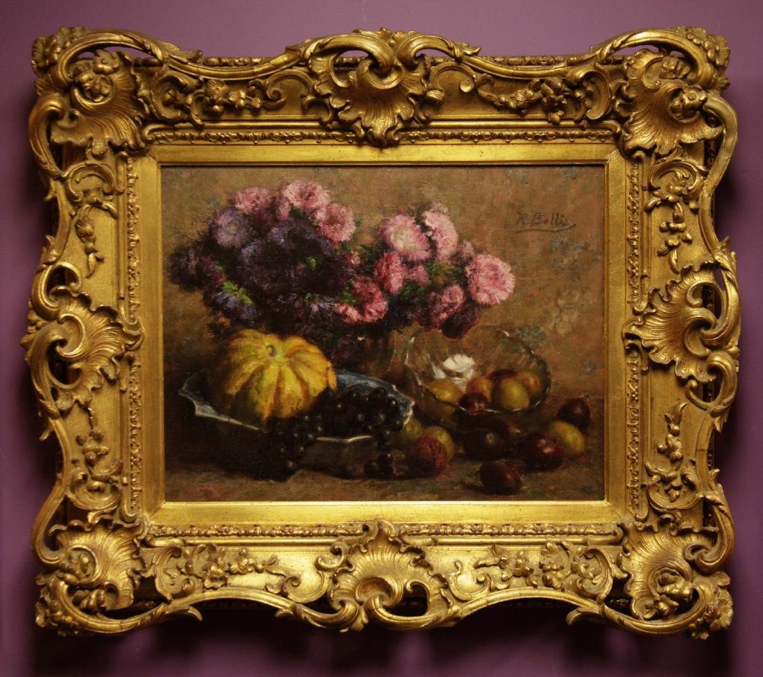 Still Life Oil Painting on Canvas w/ Wood Frame