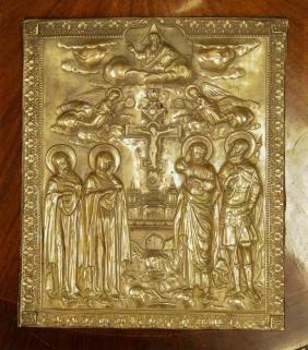 Russian Copper Icon, Marked