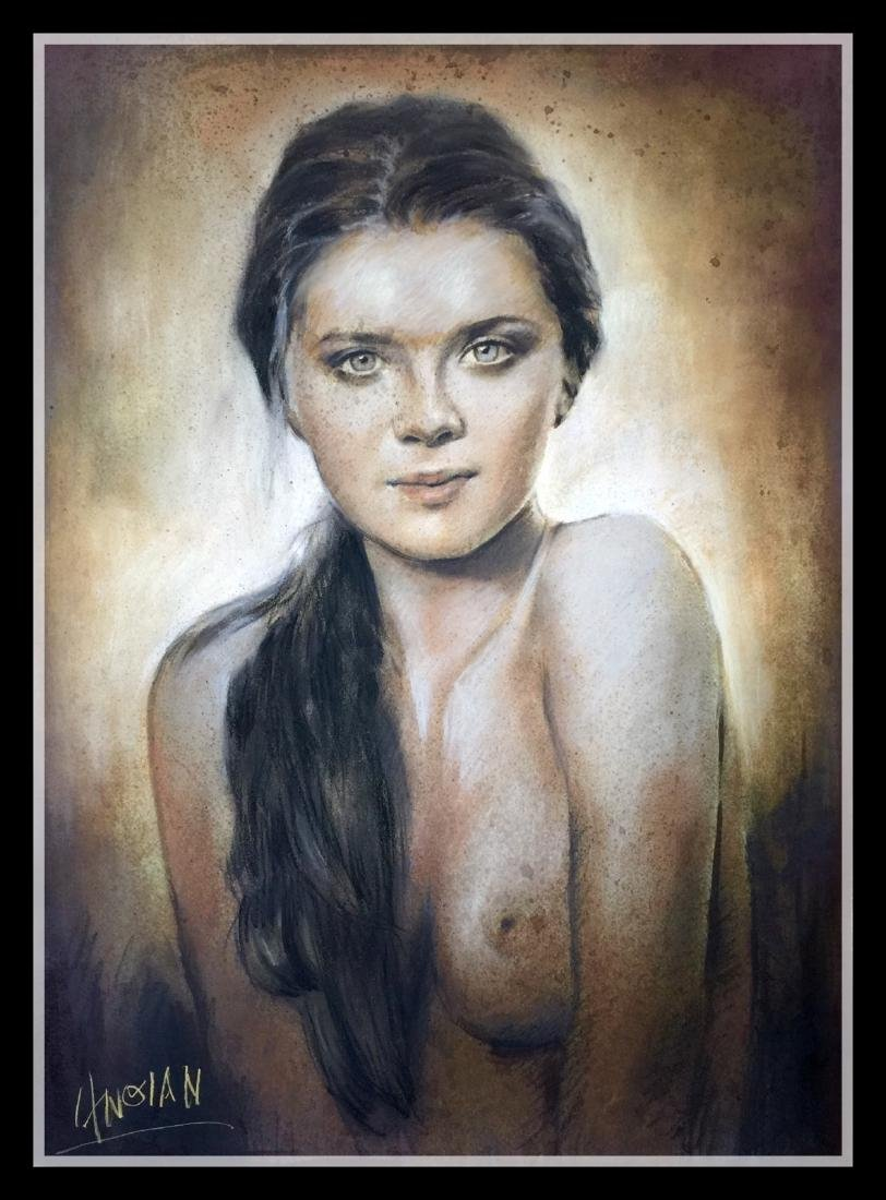 Pastel Drawing Painting , Portrait of Girl