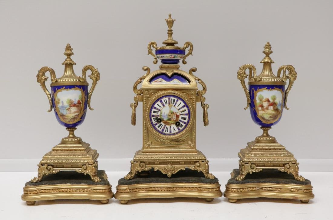 French Cobalt Porcelain and Bronze Clock Set