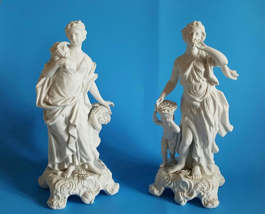 Pair Sevres Style Parian Porcelain Figures