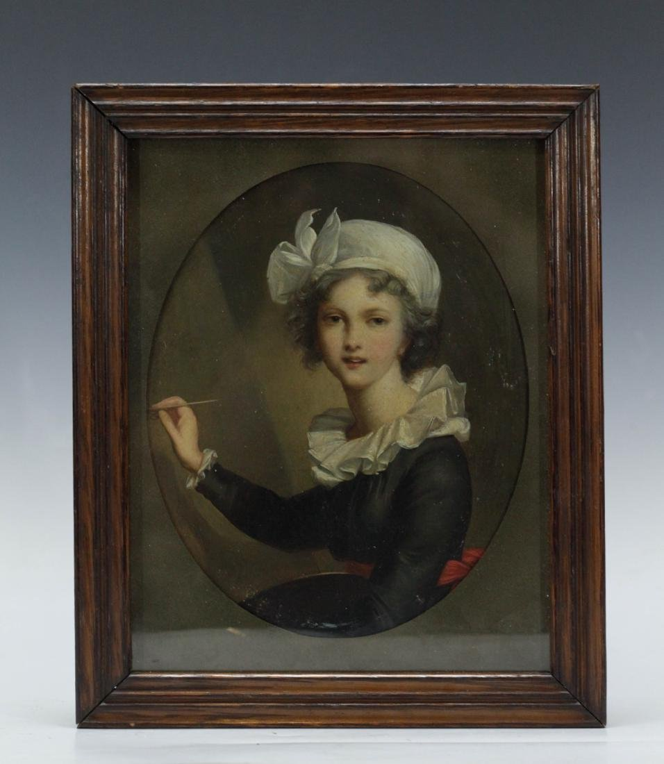 European Painting of a French maid w/ Frame