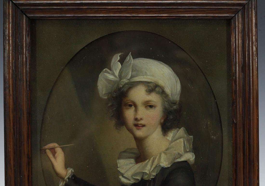 European Painting of a French maid w/ Frame - 2