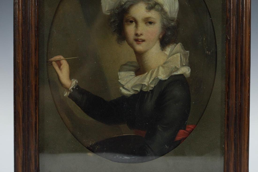 European Painting of a French maid w/ Frame - 3