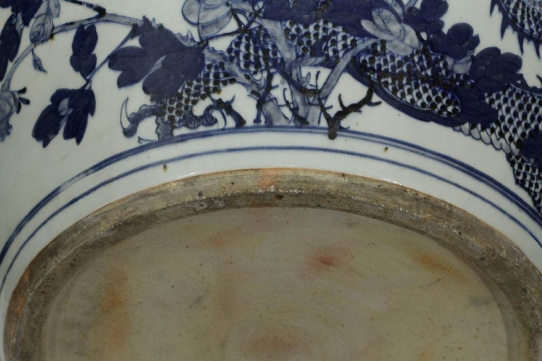 Chinese Blue/White 19th C. Porcelain Fish Bowl - 10