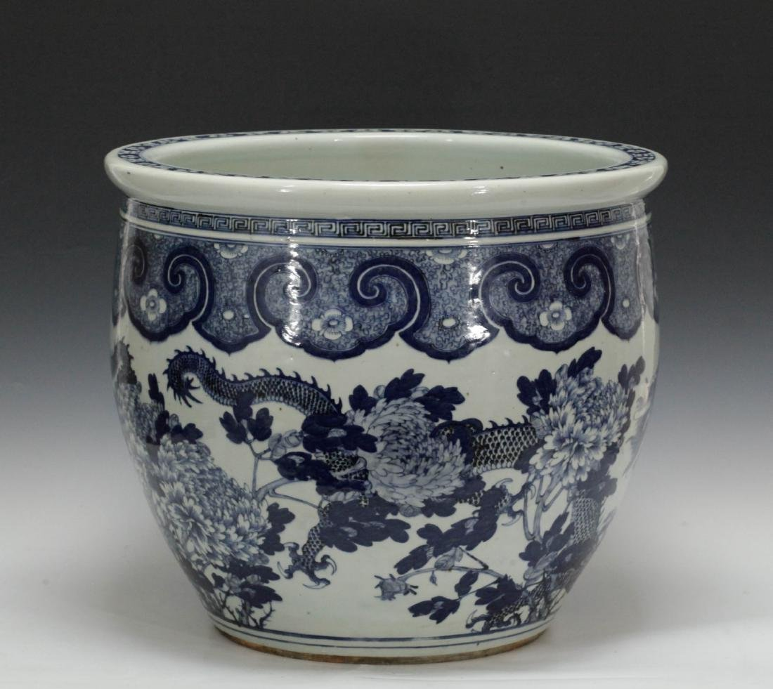 Chinese Blue/White 19th C. Porcelain Fish Bowl