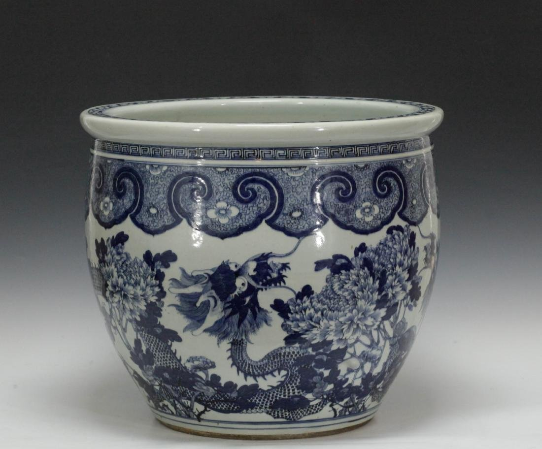 Chinese Blue/White 19th C. Porcelain Fish Bowl - 4