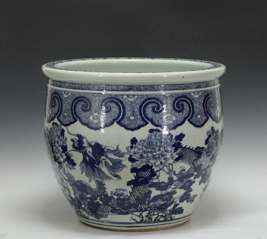 Chinese Blue/White 19th C. Porcelain Fish Bowl - 6