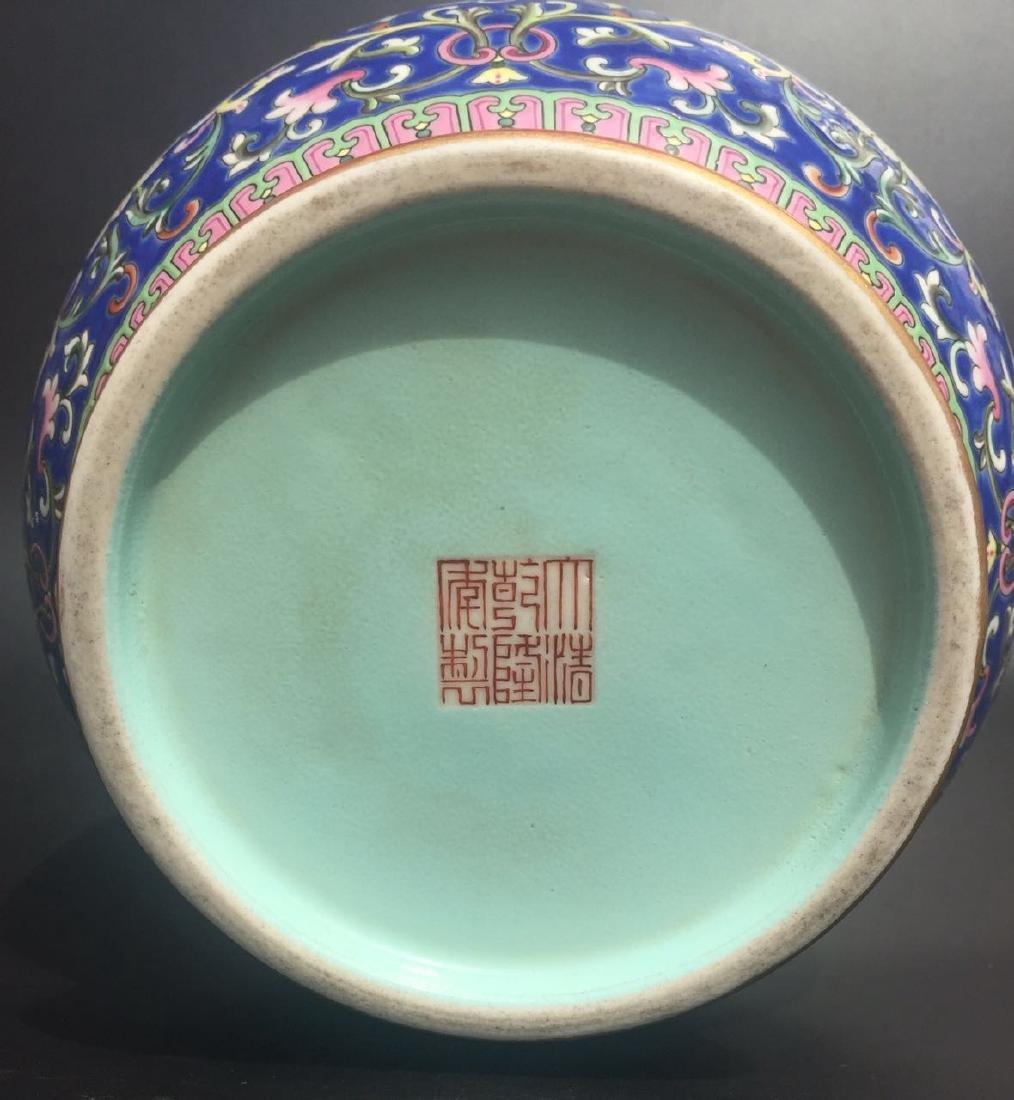 Chinese Blue Glazed Famille Rose Porcelain Vase - 10