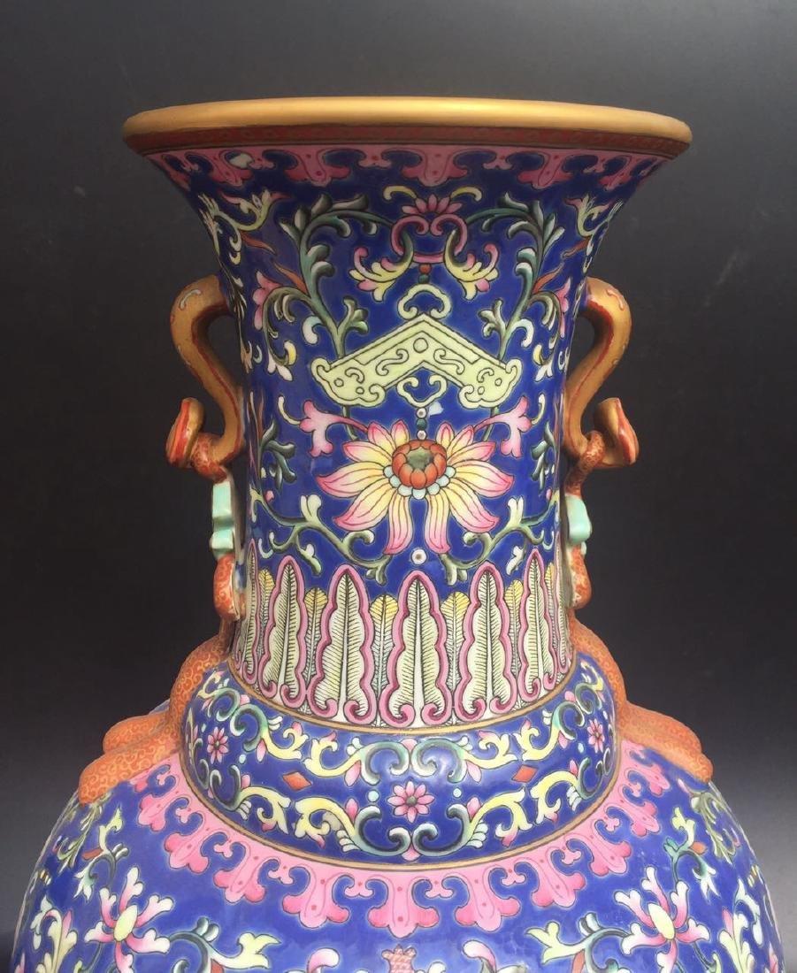 Chinese Blue Glazed Famille Rose Porcelain Vase - 2