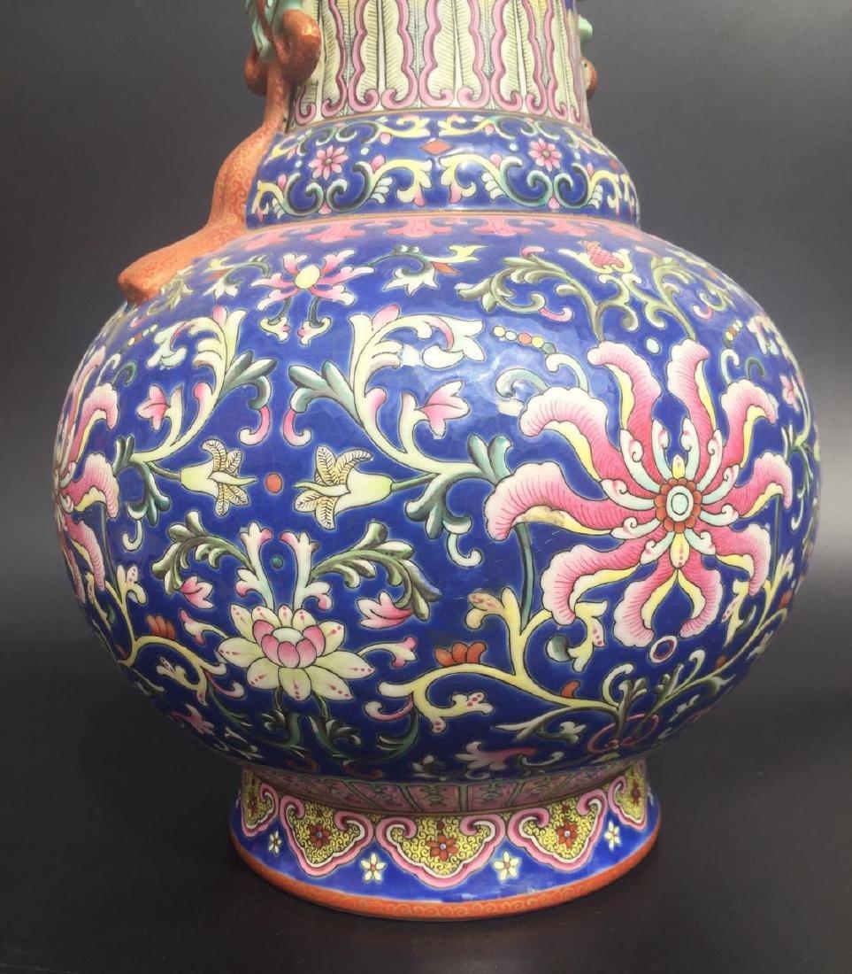 Chinese Blue Glazed Famille Rose Porcelain Vase - 5