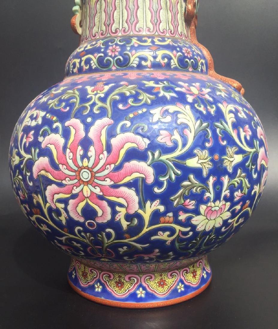Chinese Blue Glazed Famille Rose Porcelain Vase - 7