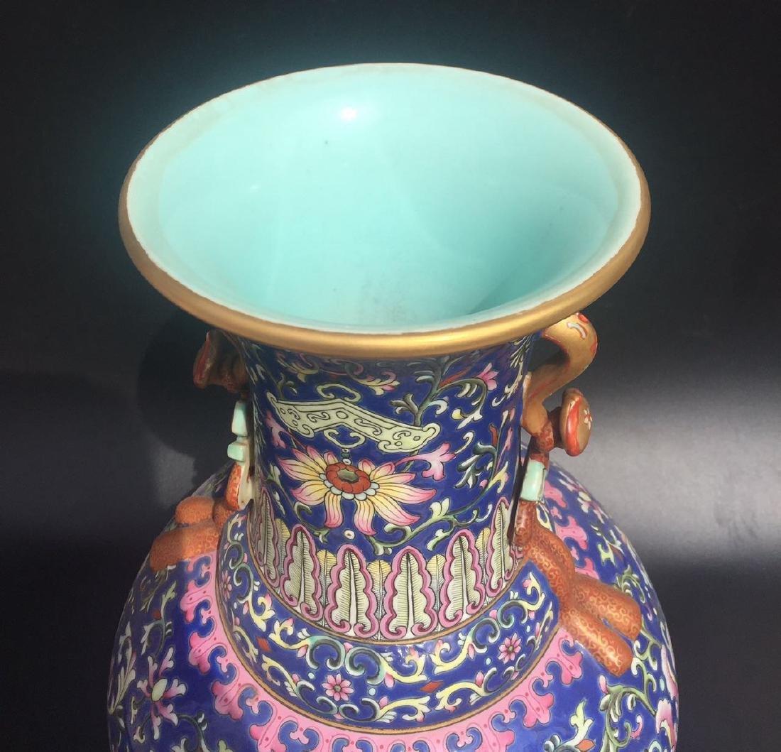 Chinese Blue Glazed Famille Rose Porcelain Vase - 8