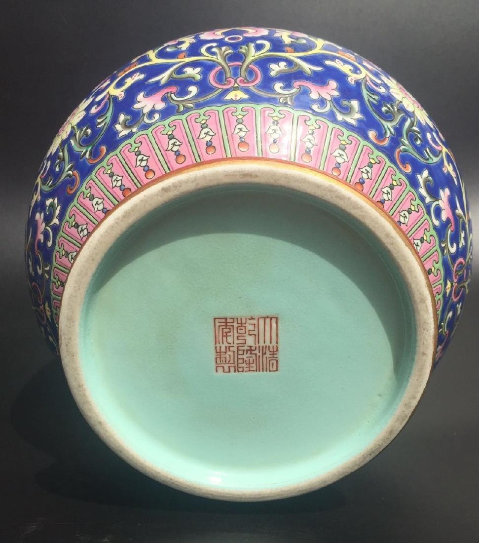 Chinese Blue Glazed Famille Rose Porcelain Vase - 9