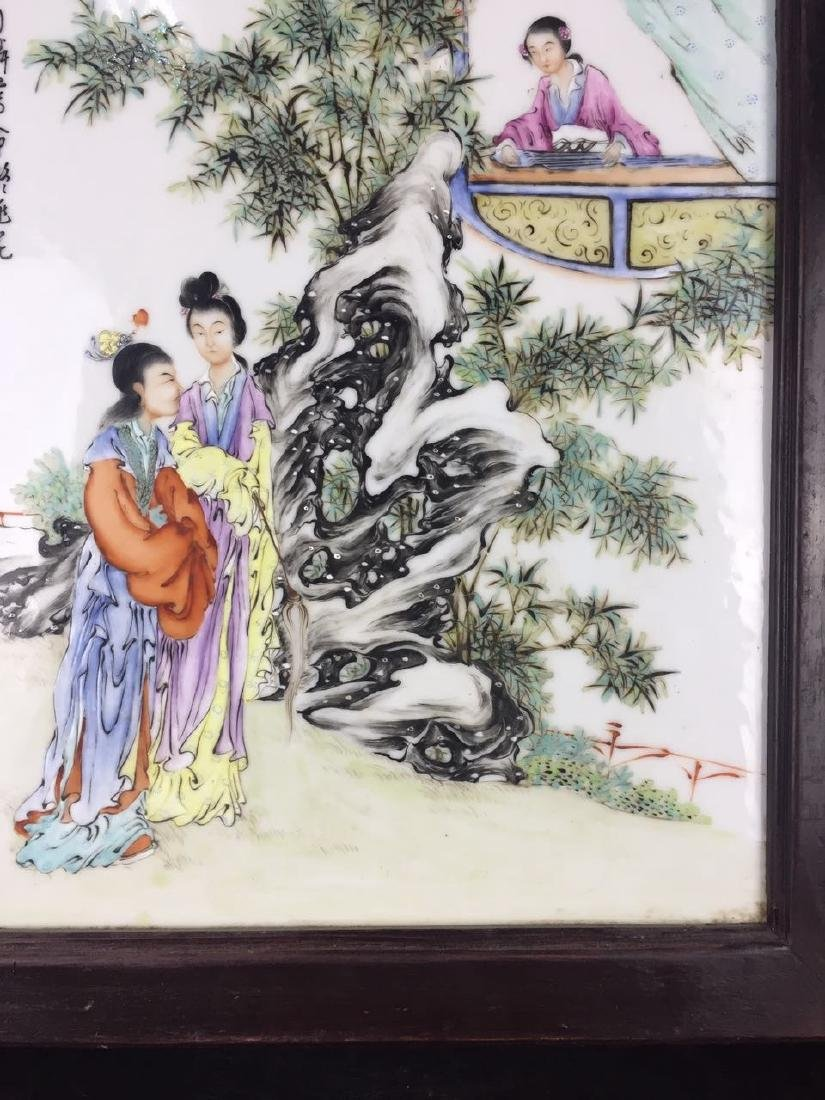Chinese Famille Rose Porcelain Plaque, Signed - 4