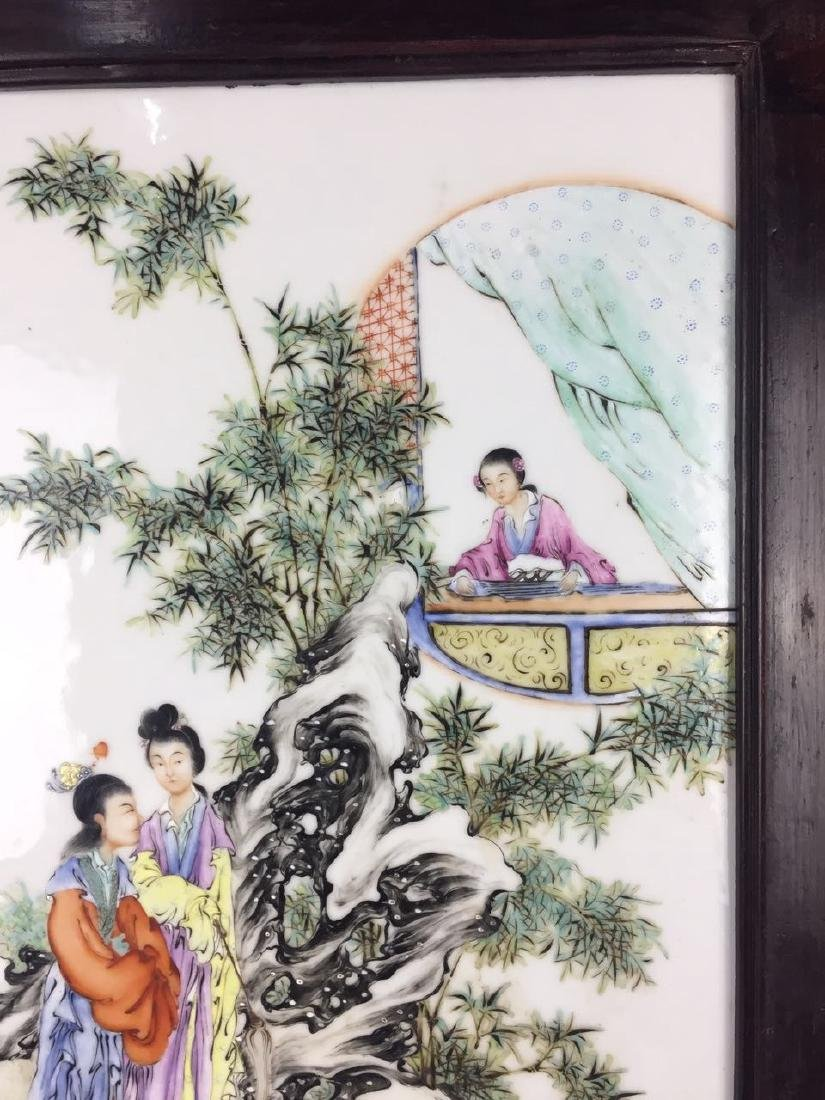Chinese Famille Rose Porcelain Plaque, Signed - 5