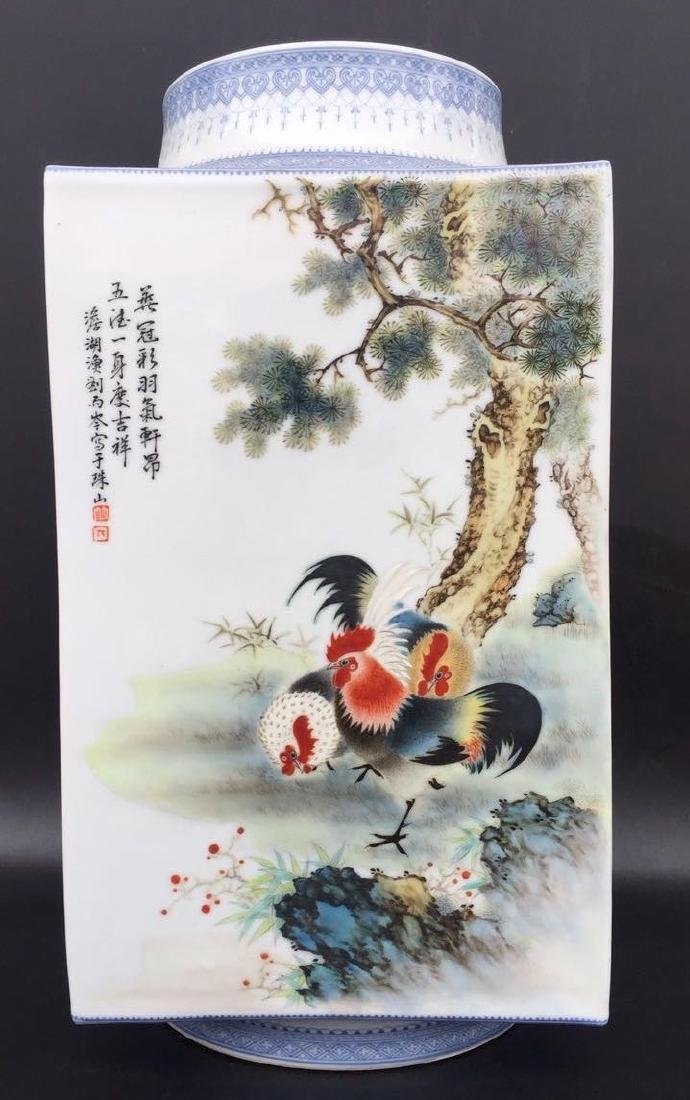 Chinese Famille Rose Square Vase, Signed - 4