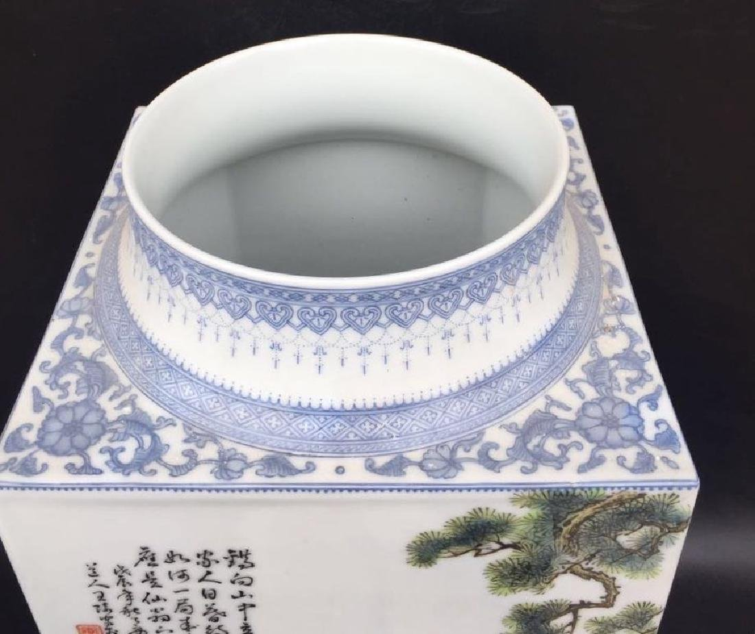 Chinese Famille Rose Square Vase, Signed - 6