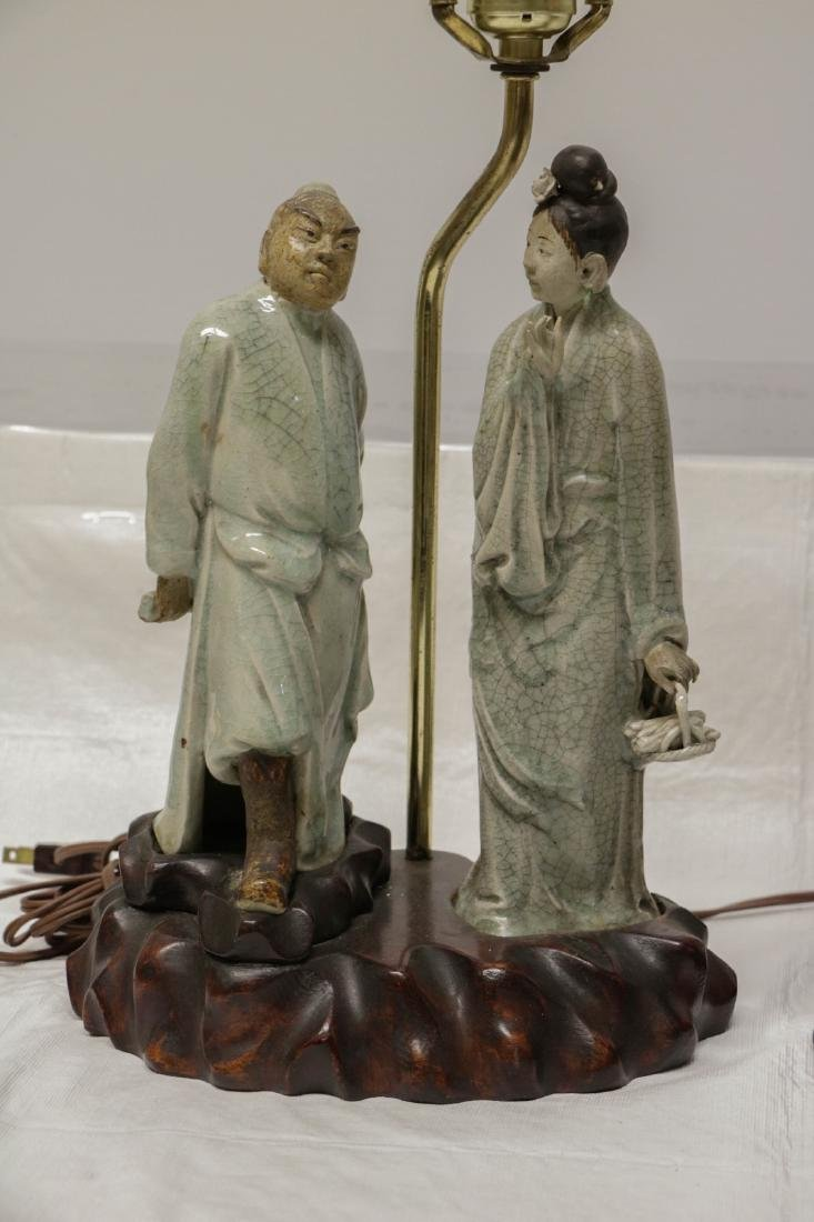 Pair of Chinese Ceramic Lamps w/ Figures - 2