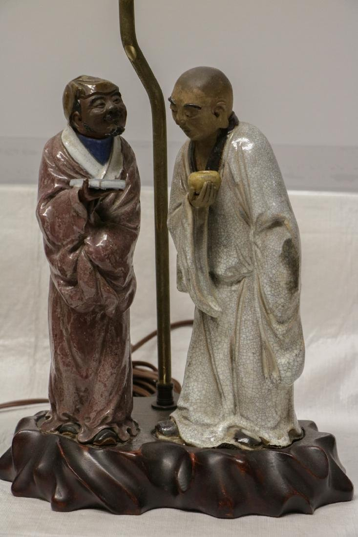 Pair of Chinese Ceramic Lamps w/ Figures - 3