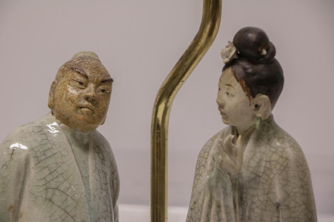Pair of Chinese Ceramic Lamps w/ Figures - 4