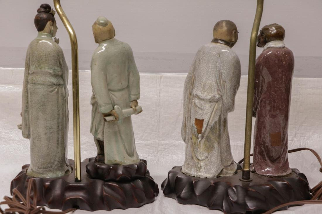 Pair of Chinese Ceramic Lamps w/ Figures - 8