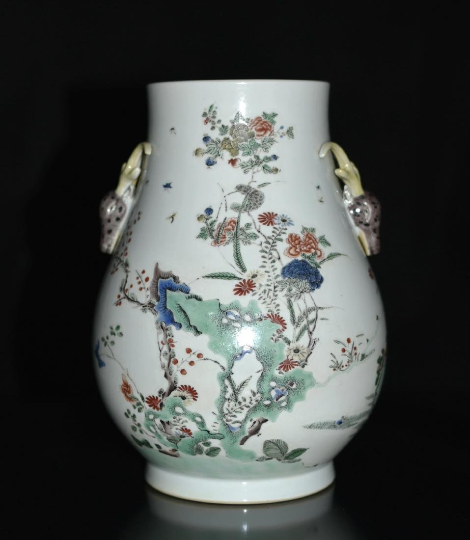 Chinese Famille Rose Squat Vase, Depicted Deers