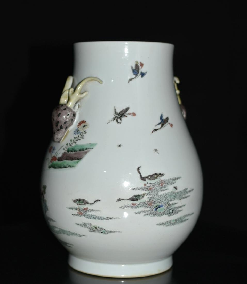 Chinese Famille Rose Squat Vase, Depicted Deers - 5