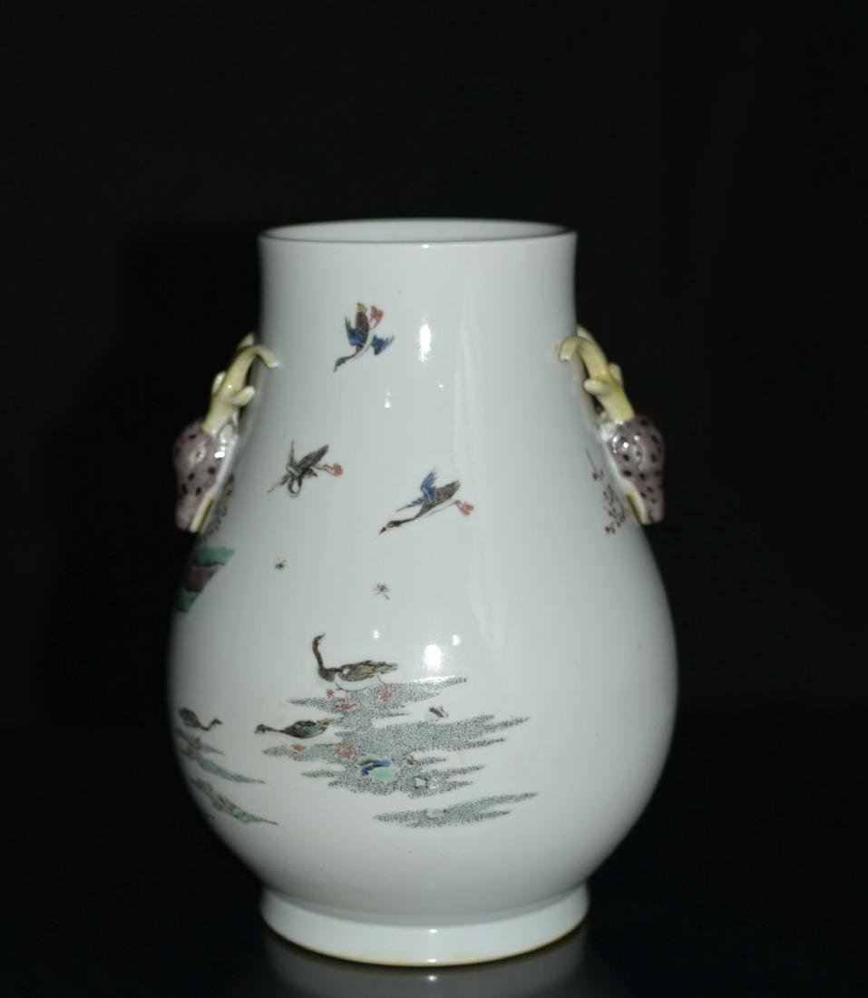 Chinese Famille Rose Squat Vase, Depicted Deers - 6