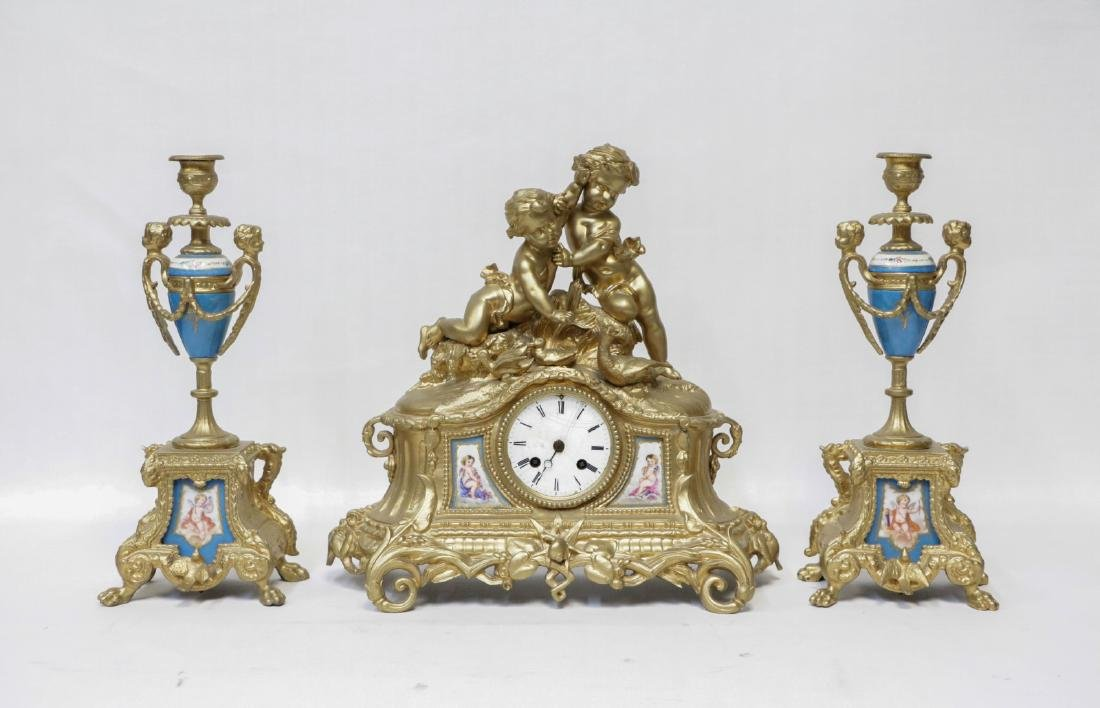 Set of European Bronze Clock