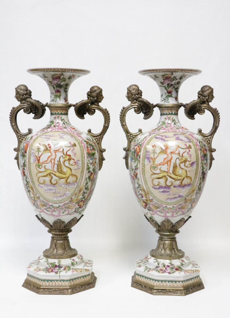 Pair of European Porcelain Vases