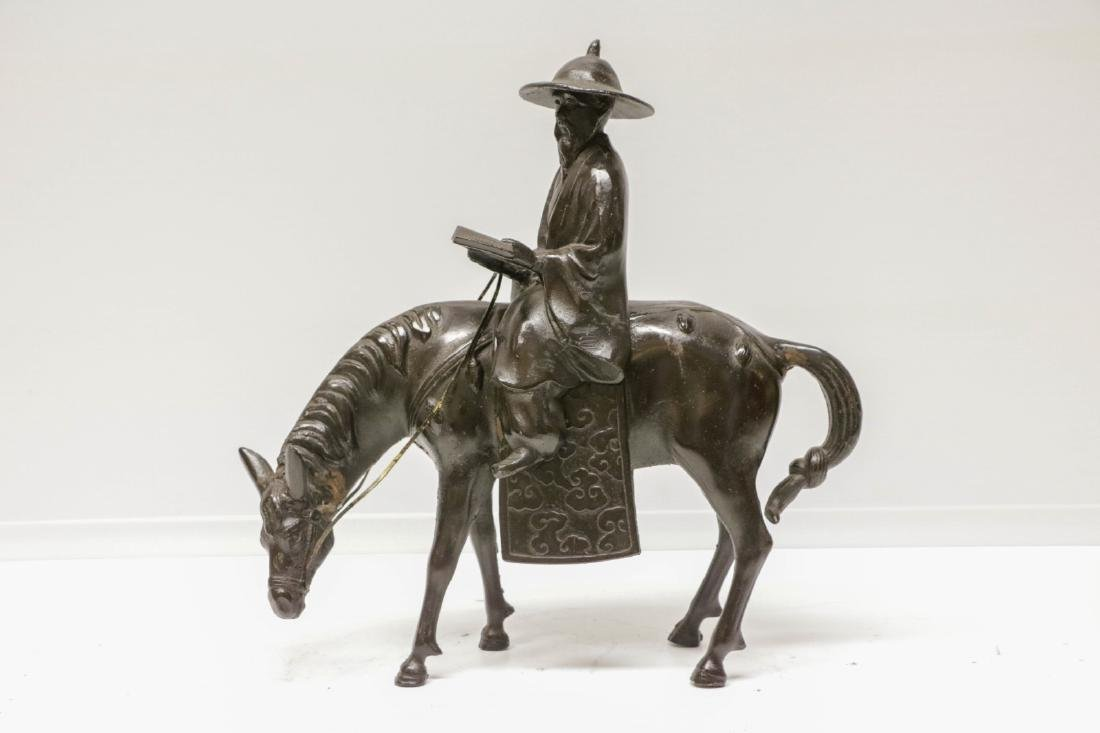 Chinese Bronze Statue of a Horse Man w/ Scroll