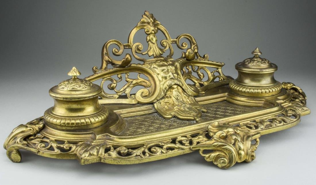 Antique French Gilt Bronze Double Inkwell