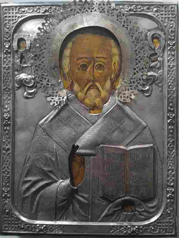 Antique 19c 84 Silver Russian icon of st.Nicholas