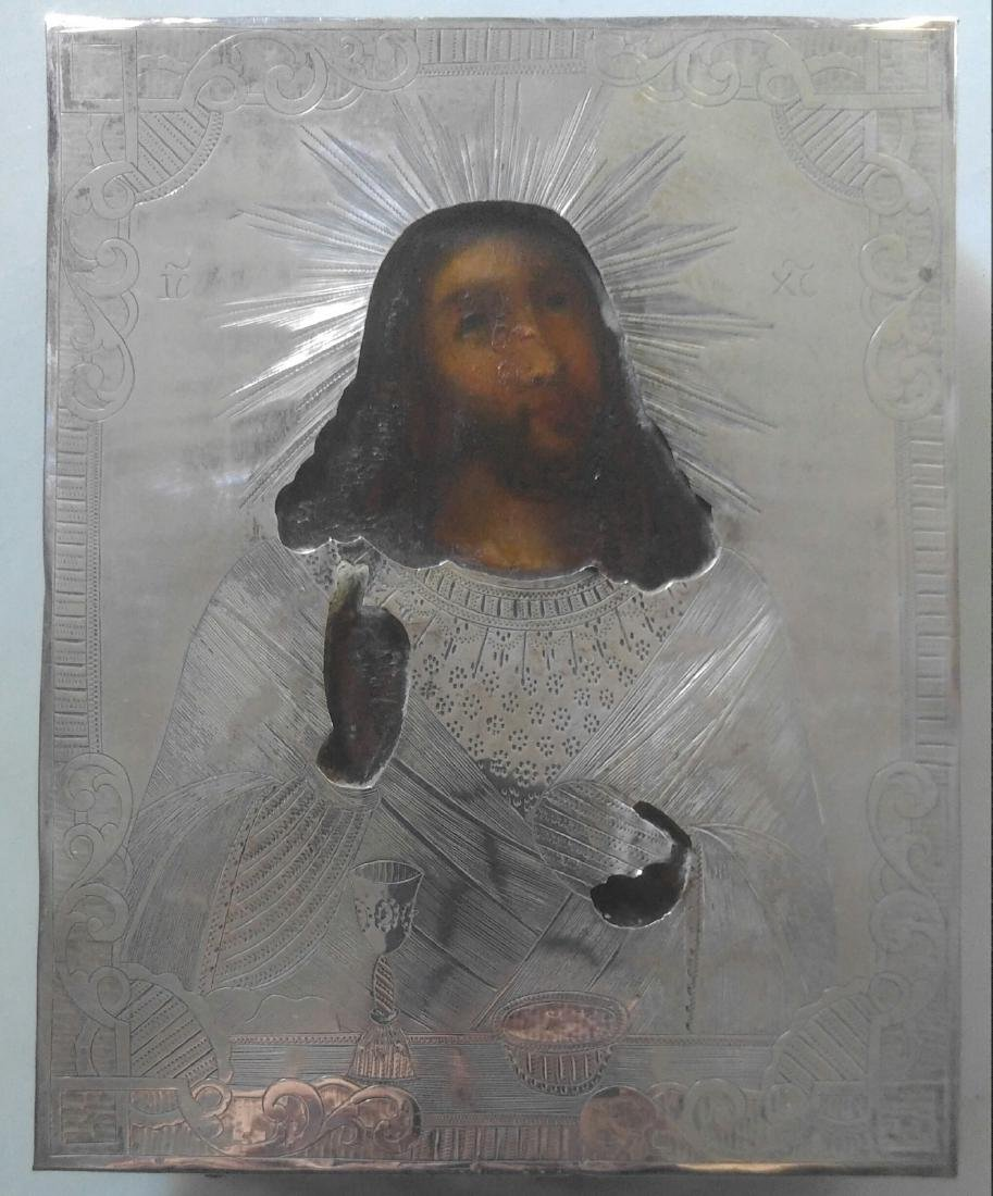 Antique 19c 84 Silver Russian icon of Christ