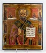 Antique 19c Russian icon of stNicholas with 6 sai