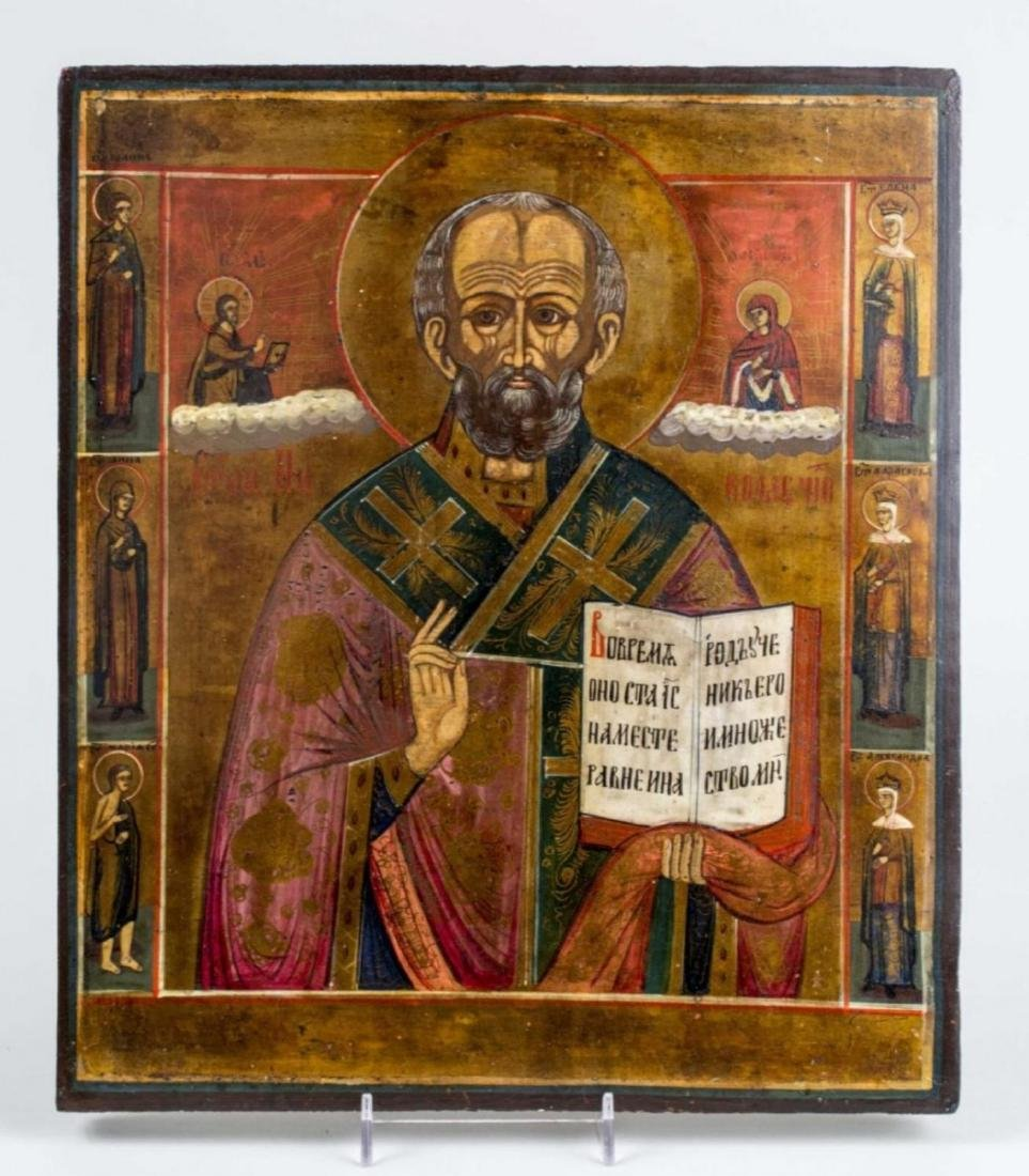 Antique 19c Russian icon of st.Nicholas with 6 sai