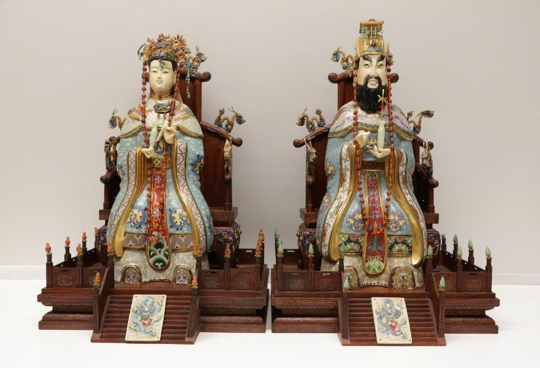 Large Pair of Chinese Cloisonne Enamel Figures