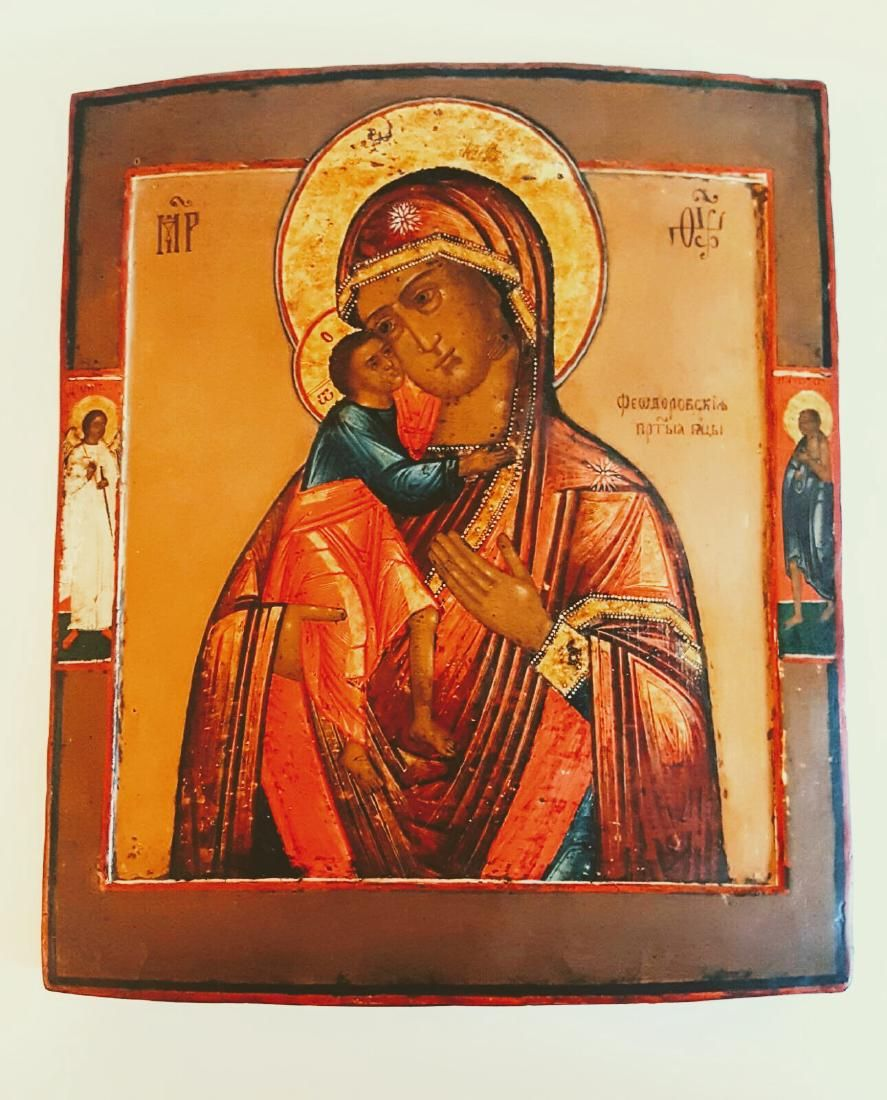 Antique 19c Russian icon of Fedorovskaya Mother of