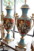 Pair of Blue Sevres Porcelain Vases w Lids