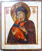 Antique 18c Russian icon of Vladimir Mother of God