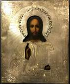 Antique 19 c Russian Silver icon of The Christ