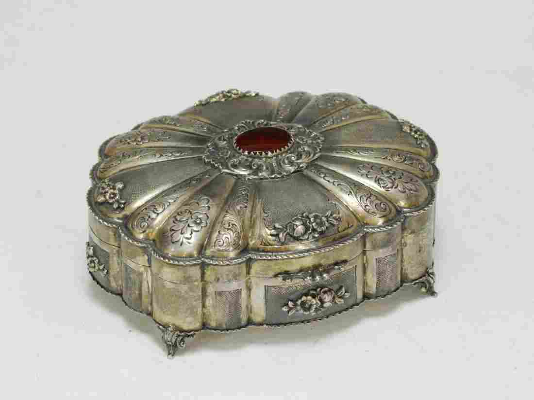 Sterling Silver Jewelry Box with Agate Stone