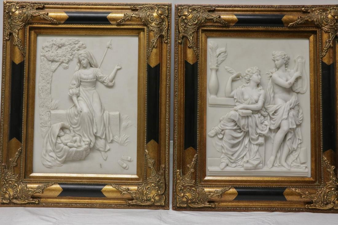 Pair of Marble Plaques w/ Gilt Wood Frame