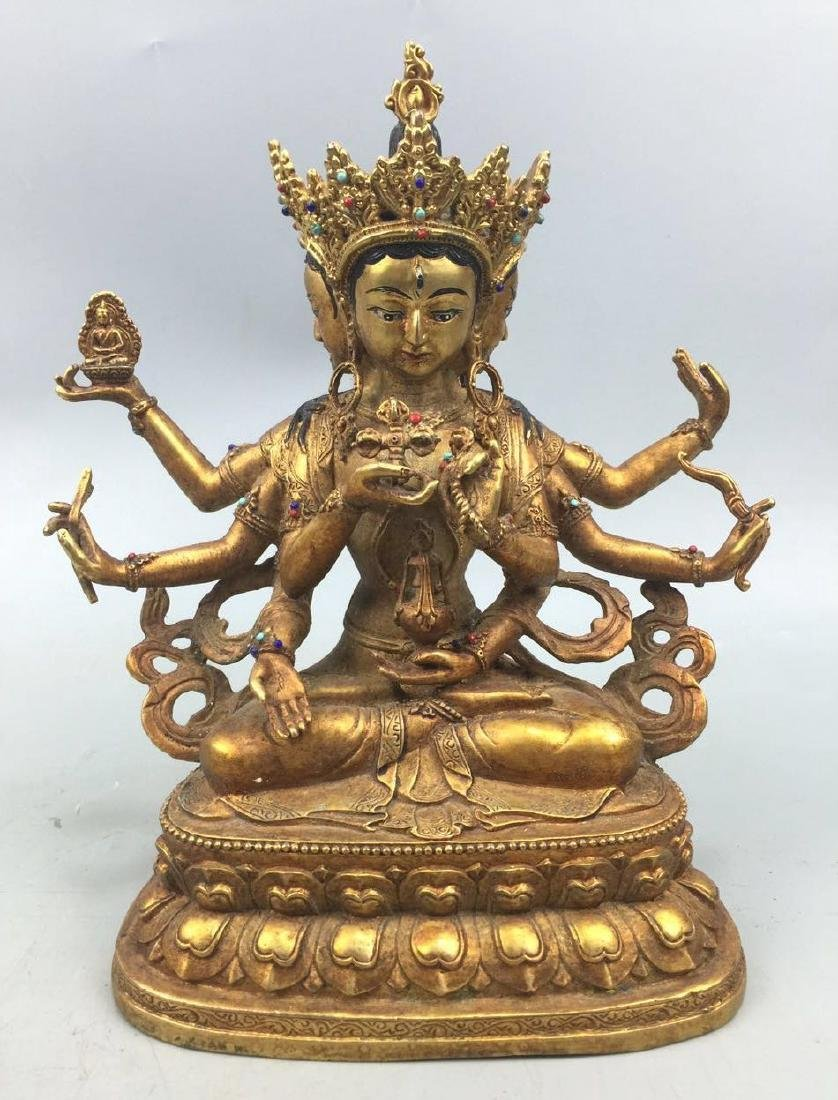 18/19th C. Chinese Gilt Bronze Buddha