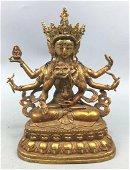 18/19th C. Chinese Gilt Bronze Buddha
