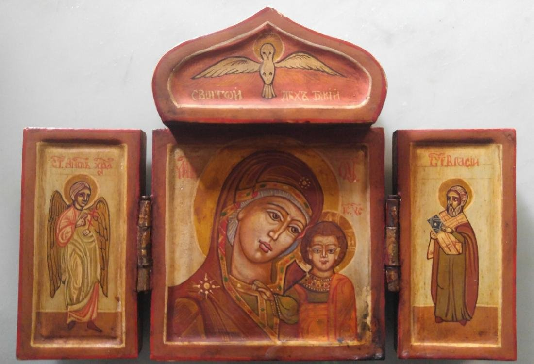 Antique Russian icon Triptych of the Mother of God