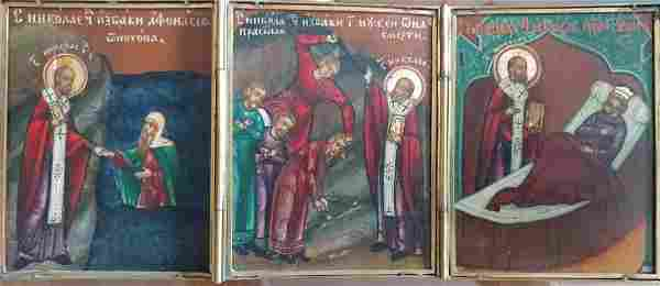 Antique 19c Russian Icon Tryptic of st.Nicholas
