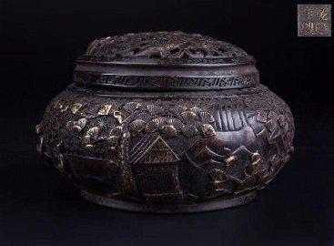 Qing Dynasty Chinese Gilt Bronze Openwork Burner